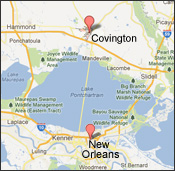 Map of New Orleans to Covington