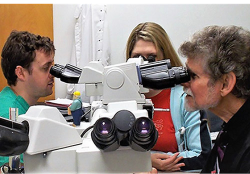 Dr. Daroca at Microscope
