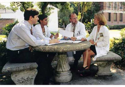 docs having discussion outside at a table