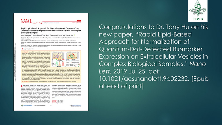 Dr. Tony Hu announcement on published paper
