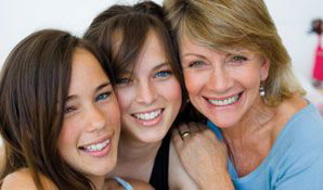 mom with 2 daughters