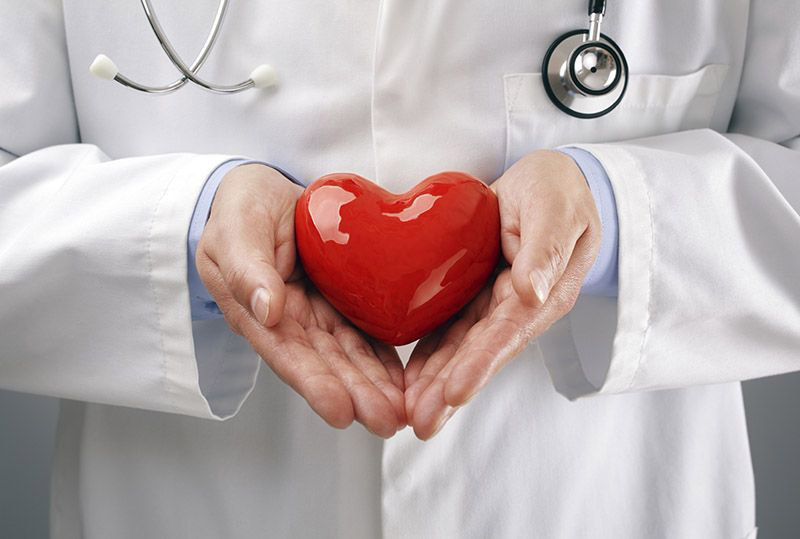 heart symbol in doctor's hands