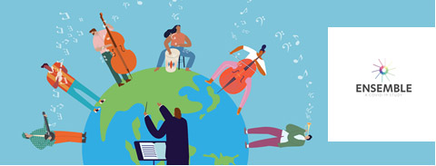 illustration of musicians on top of a globe