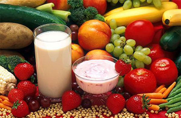 milk, yogurt, peaches, grapes, strawberries