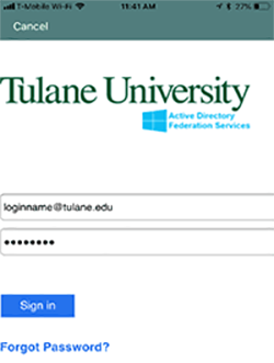 tulane login screen