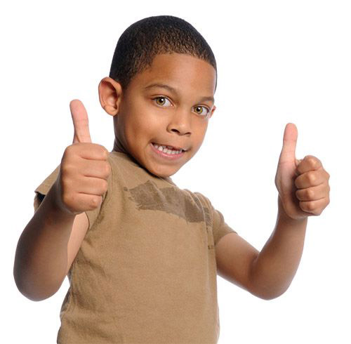 child giving a thumbs up